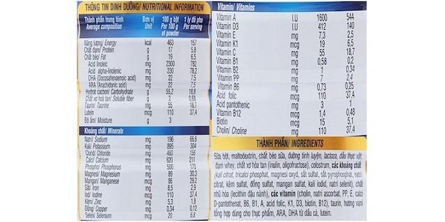 Top 7 loại sữa tăng cân cho bé biếng ăn tốt nhất hiện nay 4