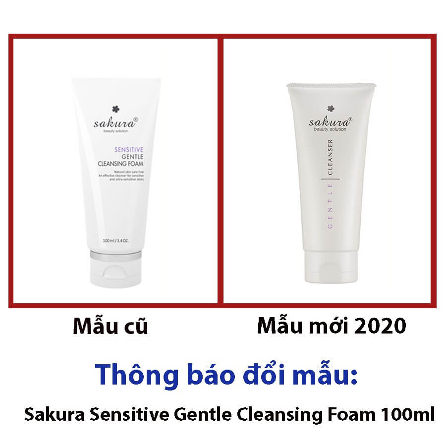 sữa rửa mặt Sakura Sensitive Gentle Cleansing Foam mẫu mới 2020