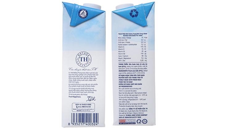 Thành phần trong sữa tươi TH True Milk - 1