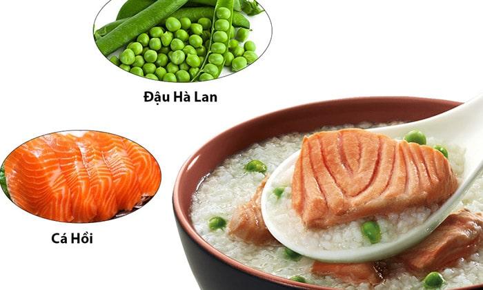 Cá hồi đậu hà lan - công thức cháo giàu dinh dưỡng cho bé - 1